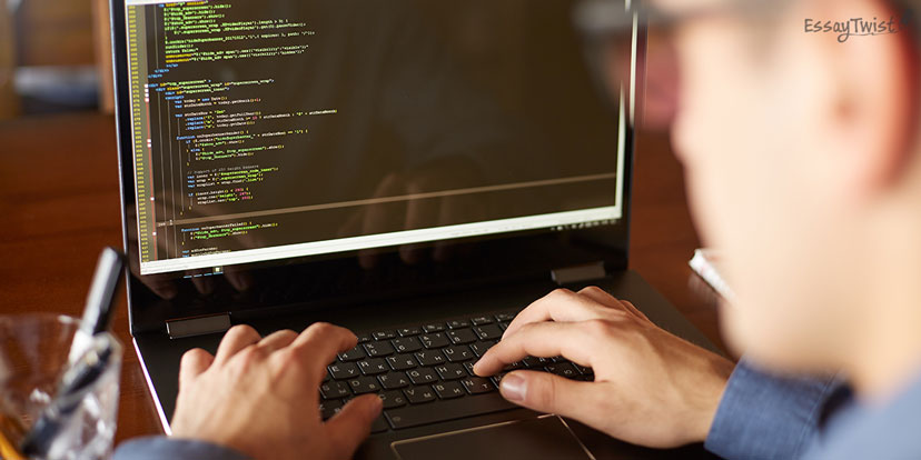 Man Coding in Front of the Screen