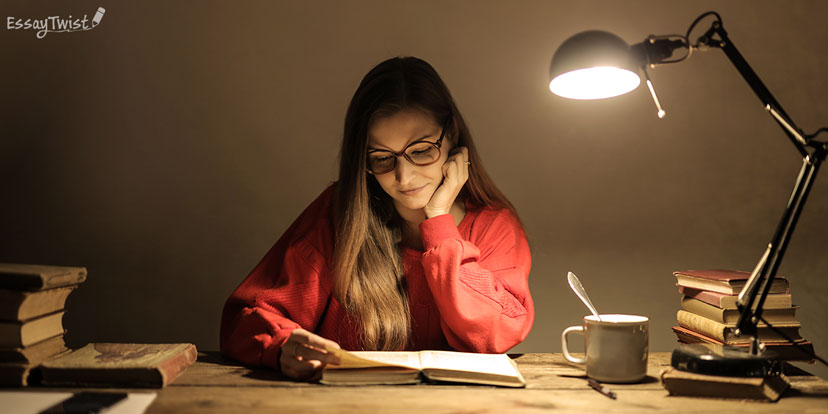Student Studying at Night